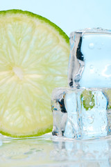 stacked ice cubes and lime