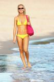lady in yellow bikini strolling along the beach poster