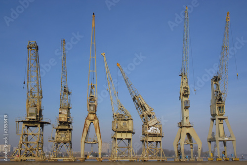 group of old cranes