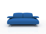 blue modern sofa on white background  insulated 3d poster