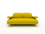 yellow modern sofa on white background  insulated 3d poster