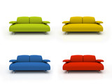 colorful modern sofas on white background  insulated 3d poster