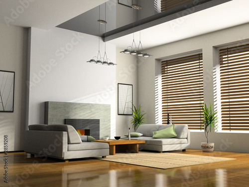 home interior with fireplace and sofas 3d rendering - 2859208