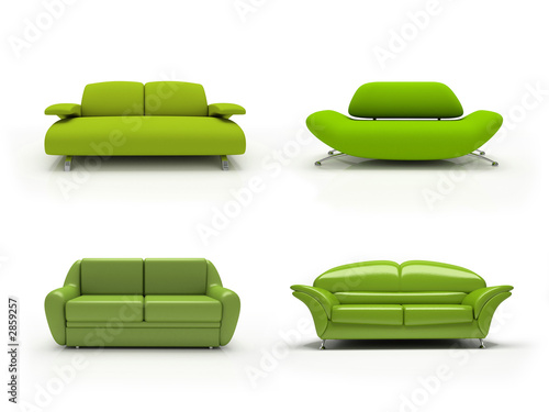 Sofas on Green Four Modern Sofas On White Background Isolated 3d    Dmitry