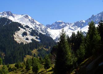 mountains at skiing lodge chimbulak