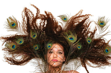 crazy peacock hair
