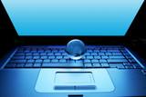 globe on a laptop / internet concept poster