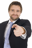 young business man gesturing that he wants you in poster