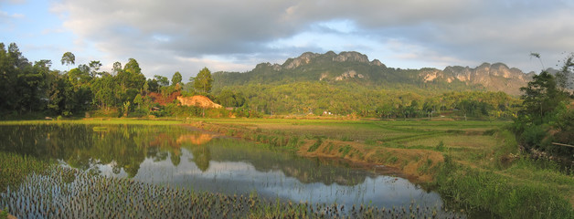 lake and the ricefields at the sunset from londa to kete kesu, r