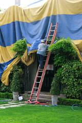 tarping up