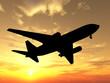big plane over sunset