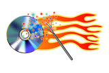 cd burning with magic wand poster