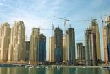 dubai marina buildings, united arab emirates poster