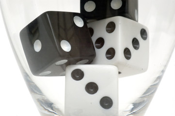 dice in a glass