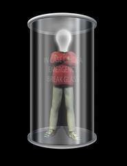 idea man in glass case