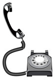 old telephone lifted up for call poster
