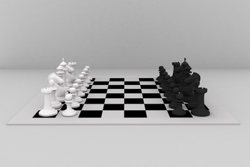 3d image of black and white chess set