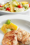 chicken medallions with salad poster