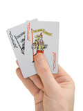hand with playing cards (two jokers) poster