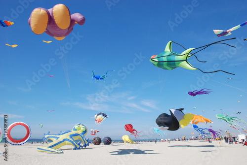 Deurstickers Ballon nuée de cerfs volants