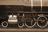 steam locomotive close up in sepia poster