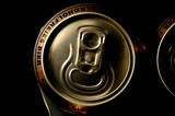 closeup non alcoholic beer cans poster