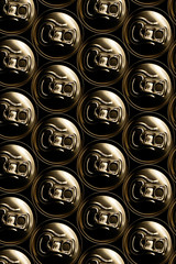 golden aluminum drink cans piled