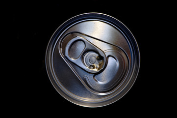 closeup aluminum drink can in black