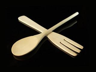 cuillère et fourchette en bois