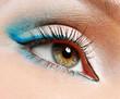 green eye with blue eyeshadows