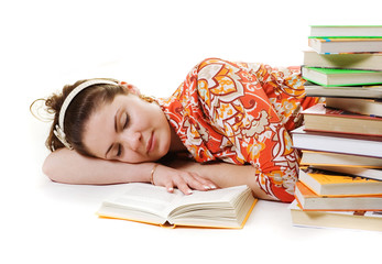 beautiful student has slept while preparing to her exams