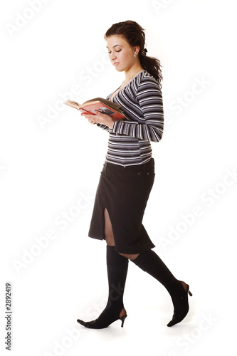 beautiful student studying all the time even while walking