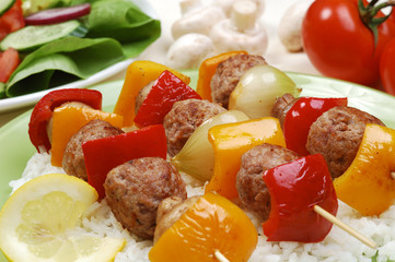 kebab and vegetable salad