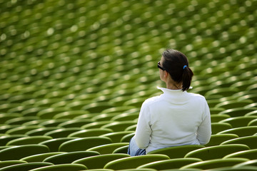 female spectator in a stadium
