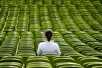 a female spectator in a stadium