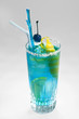 blue drink with citron and blue cherry