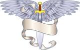 winged sword heraldic element poster