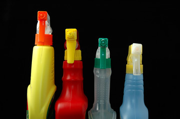 four spray bottle tops