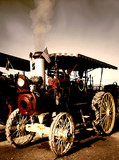 old steam engine tractor poster