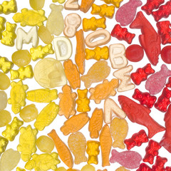 colorful yellow, orange and red jelly candy