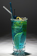 blue drink with citron and ice.