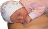 newborn sleep on mama chest poster