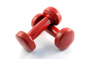 red metall dumbbells