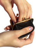 woman hand in black purse poster