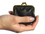 woman hand and black purse poster