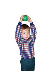 boy with ball isolated, insulated, white background