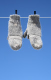 mittens hanging to dry – the winter is over poster