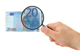 hand magnifying 20 euro note poster