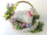 confectionery-lamb and easter-eggs in athe basket poster