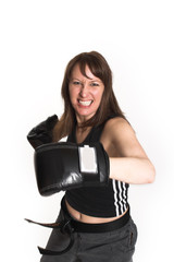 woman wearing karate gloves